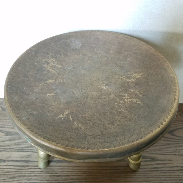 Boho Chic Vintage Etched Brass Brazier Stool For Sale - Image 3 of 7