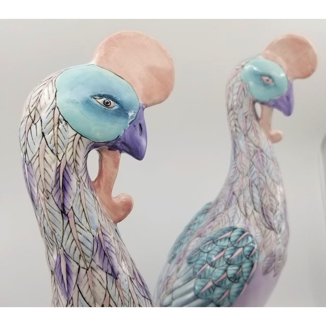 Lavender Extra-Large Chinese Porcelain Ceramic Phoenix Bird Sculptures or Figurines - a Pair For Sale - Image 8 of 13