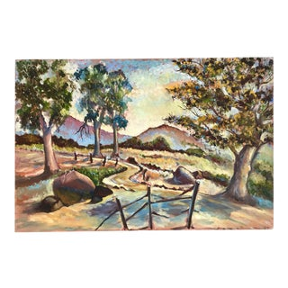 Expressionist Ojai Landscape in Vivid Hues Oil on Canvas Painting