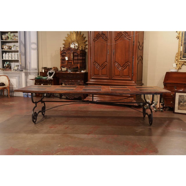 Large French Chestnut and Slate Dining Room Table on Forged Wrought Iron  Base