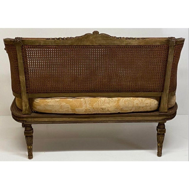 19th Century French Napoleonic Double Caned and Giltwood Settee For Sale - Image 9 of 13