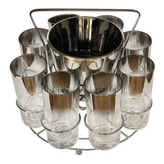 Mid-Century Modern Thorpe Style Silver Ombre Fade Glasses With Ice Bucket + Rack - Set of 8