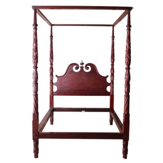 Flint Four Poster Carved Mahogany Canopy Queen Size Bed For Sale