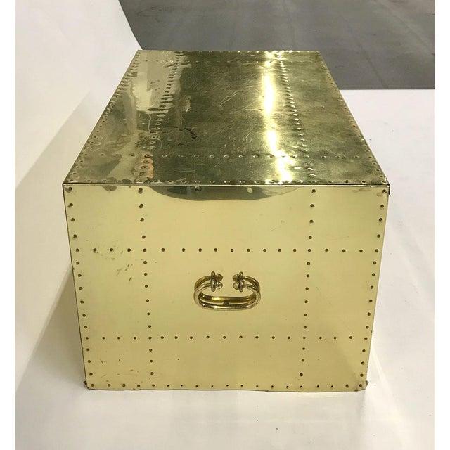Metal Vintage Sarreid Ltd Two-Drawer Brass-Clad Chest For Sale - Image 7 of 11