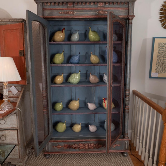 Brown French Painted Bibliotheque For Sale - Image 8 of 10