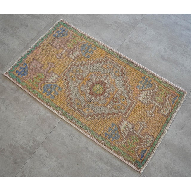 Distressed Low Pile Turkish Yastik Rug Faded Kitchen Sink Mat - 1'9'' X 3'1'' For Sale - Image 4 of 4