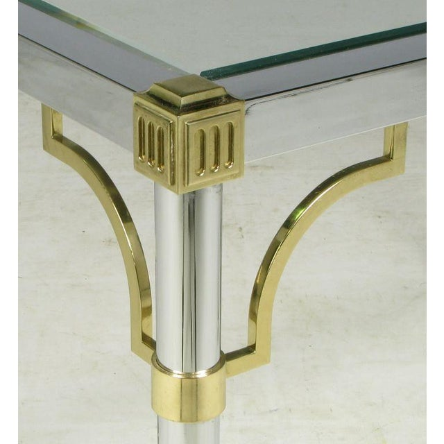 Chrome & Brass Regency Style End Table For Sale - Image 4 of 5