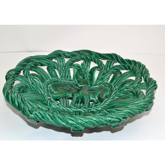 Large round Mid-Century Modern Woven Ceramic, Pottery in Emerald Green from Vallauris, small village near the French...