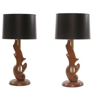 Sculptural Oak & Brass Table Lamps by Heifetz For Sale