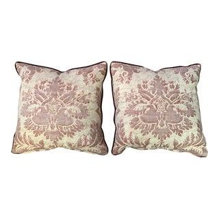 21st Century Square Fortuny Crimson Velvet Back Pillows- A pair For Sale