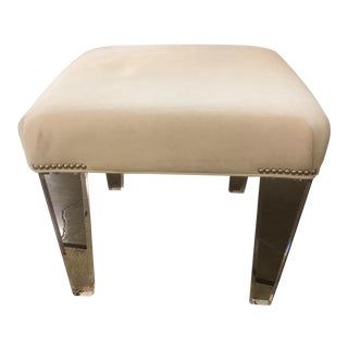 White Hide Ottoman With Acrylic Legs For Sale