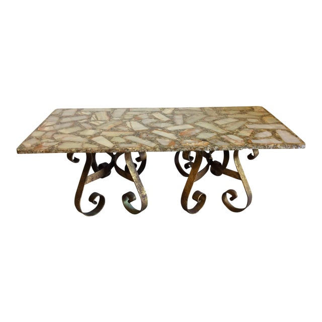 Arturo Pani Style Agate Abalone Gold Gilt Iron Base Coffee Table - Image 1 of 11
