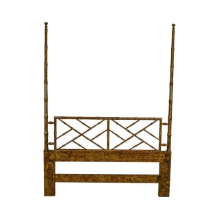 Henredon Artefacts Collection Vintage Faux Bamboo Painted Queen Poster Headboard For Sale