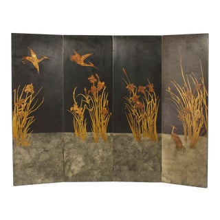 French Art Deco 4 Fold Screen Decorated With A Raised Gilded Scene For Sale