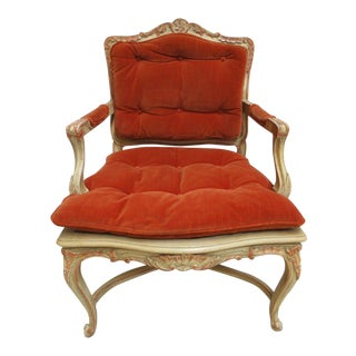 Vintage French Regency Paint Decorated Cane Armchair