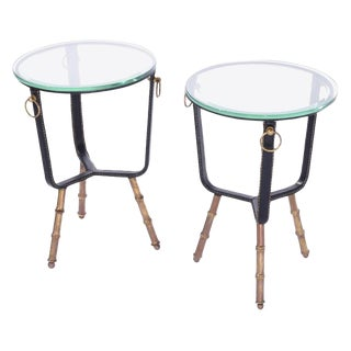 Mid-Century Modern Jacques Adnet Stitched Leather Side Tables - a Pair For Sale