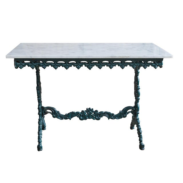 Metal French Cast Iron and Marble Table For Sale - Image 7 of 7