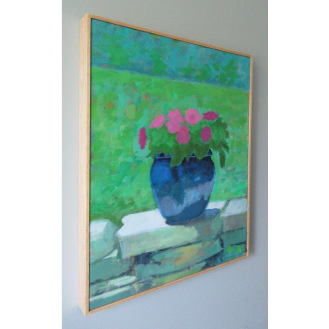 """French Country """"Pink Petunia"""" Contemporary Floral Still Life Acrylic Painting by Anne Carrozza Remick, Framed For Sale - Image 3 of 5"""