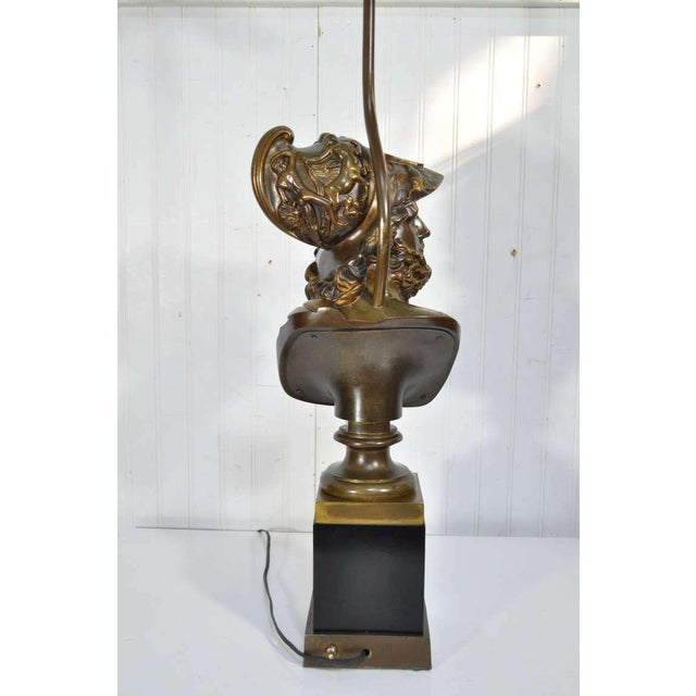 Black 19th Century French Patinated Bronze Bust of Trojan War Greek General Ajax Table Lamp For Sale - Image 8 of 10