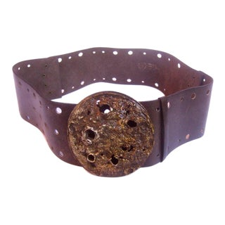 1970s Brutalist Wide Brown Leather Belt For Sale