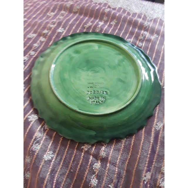 Italian Vintage Vietri Green Cabbage Plate For Sale - Image 4 of 6