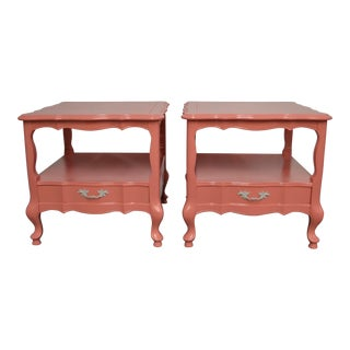 1970s French Country Coral High Gloss Finish Side Tables - a Pair For Sale