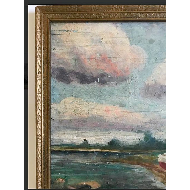 Painting - Vintage Landscape With Boats Painting For Sale - Image 4 of 6