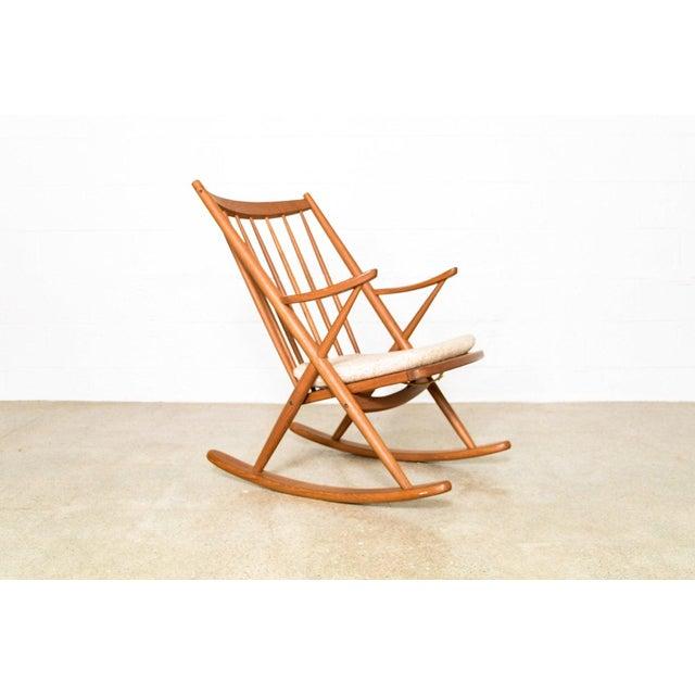 Mid-Century Modern Vintage Mid Century Danish Modern Frank Reenskaug for Bramin Teak Wood Rocker Rocking Chair, 1960s For Sale - Image 3 of 11