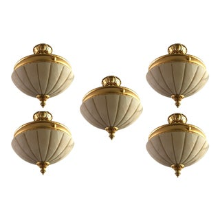 Mediterranean Alabaster & Gold Pendant Lights - Set of 5