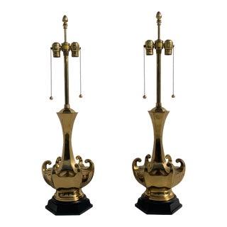 Asian Motif Brass Lamps - a Pair For Sale