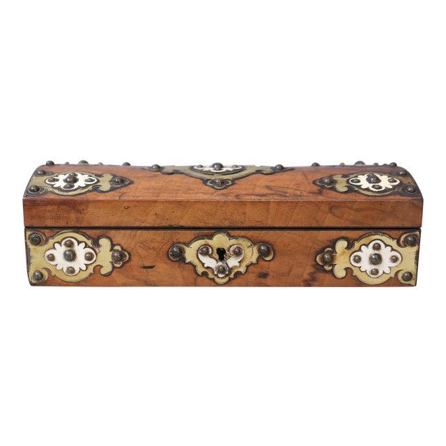 19th C. Brass & Bone Mounts Walnut Box - Image 1 of 7