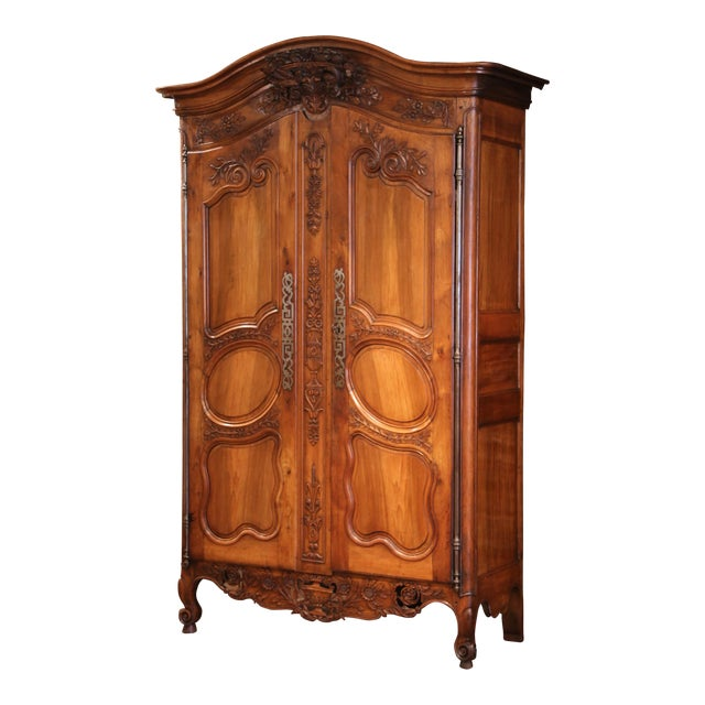 Exceptional 18th Century French Carved Walnut Wedding Armoire from Provence For Sale