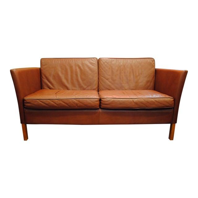 Danish Modern Leather Love Seat - Image 1 of 6