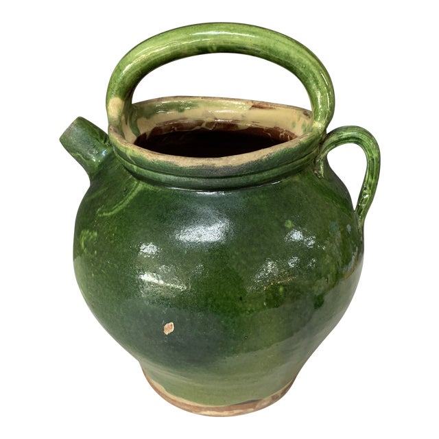 Authentic Early 20th Century French Terracotta Pot in Dark Green With Gorgeous Patina! For Sale
