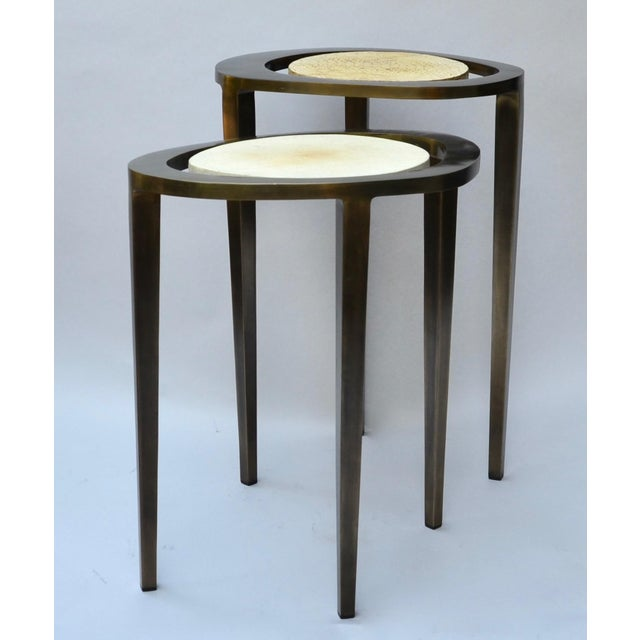 R & Y Augousti Bronze Nesting Side Tables - Image 2 of 10