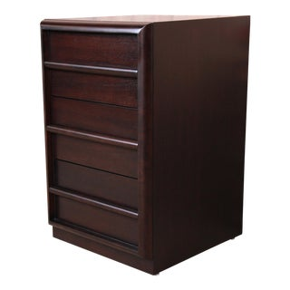 Robsjohn-Gibbings for Widdicomb Ebonized Three-Drawer Bachelor Chest or Nightstand, Newly Refinished For Sale