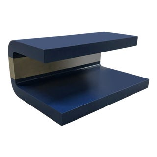 1970s Cobalt Blue Grasscloth Covered C-Shaped Table For Sale