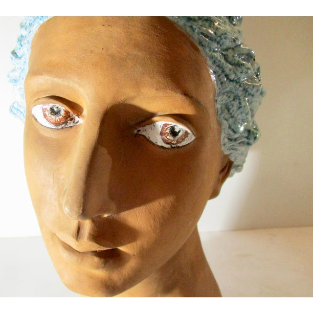 Italian Neoclassical Terracotta Woman's Head With Enamel Details For Sale - Image 9 of 10