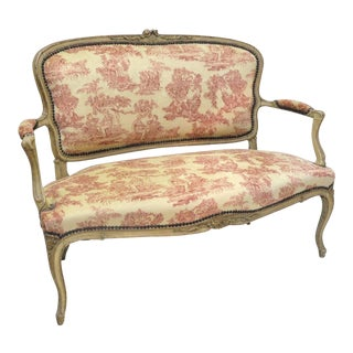 19th Century French Louis XV Carved Painted & Vintage Fabric Settee