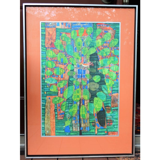 "Friedrich Hundertwasser ""Singing Bird on a Tree"", Framed and Matted Print For Sale - Image 4 of 7"