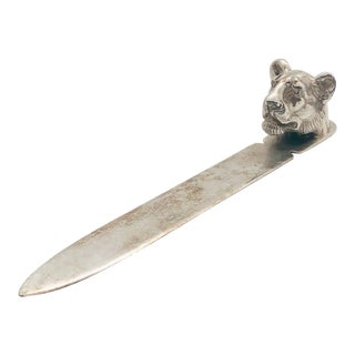 Vintage Reed & Barton Art Deco Silver Plate Young Lion Cub Head Letter Opener/Paperweight For Sale