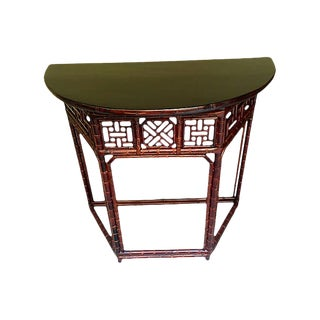 Lacquer-Topped Bamboo Demilune Console For Sale