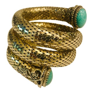 1970s Whiting & Davis Three Coil Cabochon Turquoise Mesh Bracelet For Sale