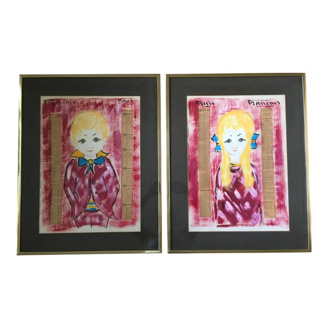 1960s Vintage Francois Paris Girl and Boy Portraits Mixed Media Paintings - A Pair For Sale