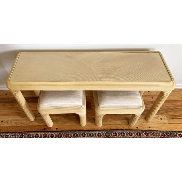 Art Deco Pencil Reed Console With Two Coordinating Benches, S/3 For Sale - Image 3 of 10