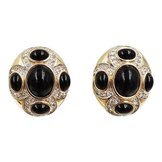 1980s Panetta Cabochon Faux-Onyx & Clear Rhinestone Earrings For Sale
