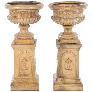 19th Century Black Forest Glazed Terracotta Garden Urns - a Pair For Sale