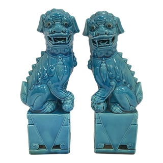 Chinese Turquoise Foo Dogs Statues Bookends - a Pair For Sale