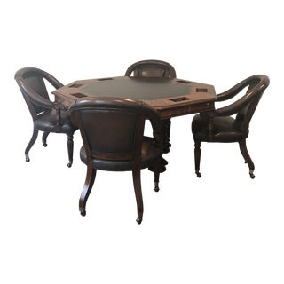 Sherrill Occasional Masterpiece Collection Poker/Game Table and 4 Game Chairs Set For Sale