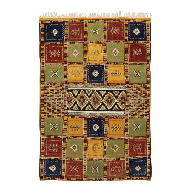 Berber Moroccan Kilim Rug with High-Low Pile, Flat-Weave Rug with Tribal Style For Sale